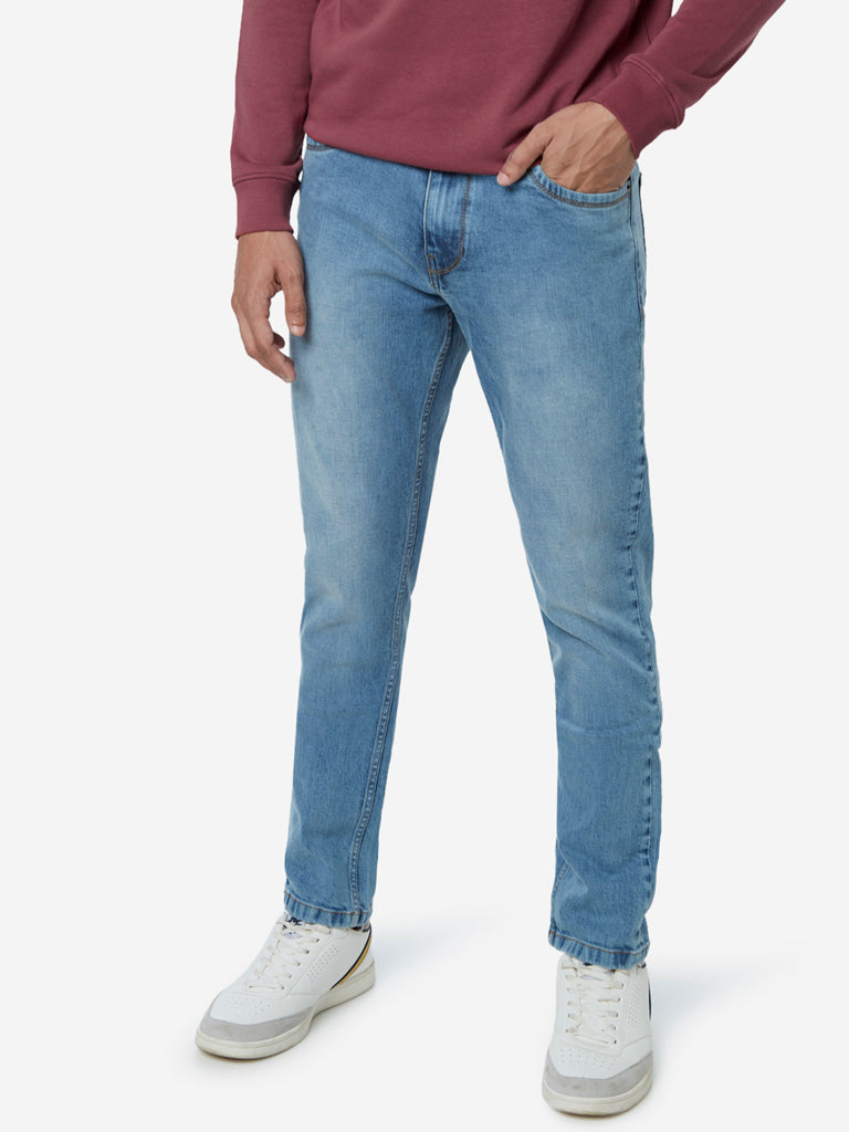 WES Casuals Light Blue Faded Slim Fit Jeans
