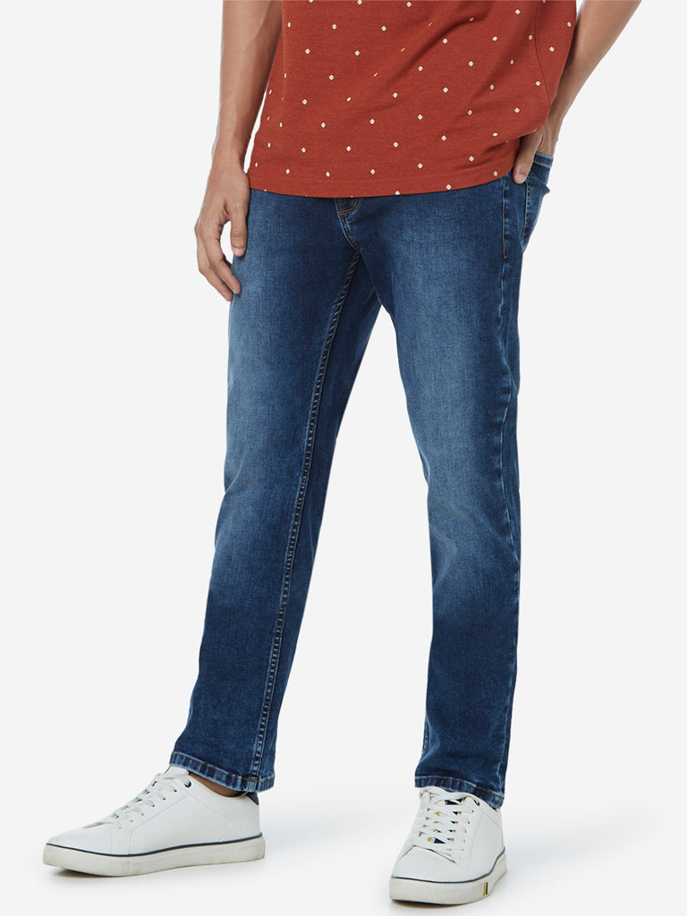 WES Casuals Blue Relaxed Fit Faded Jeans