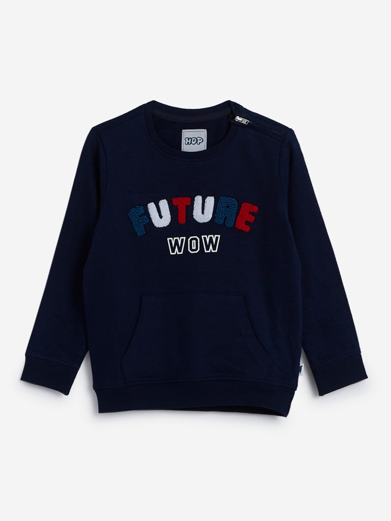HOP Kids Navy Typographic Design Sweatshirt