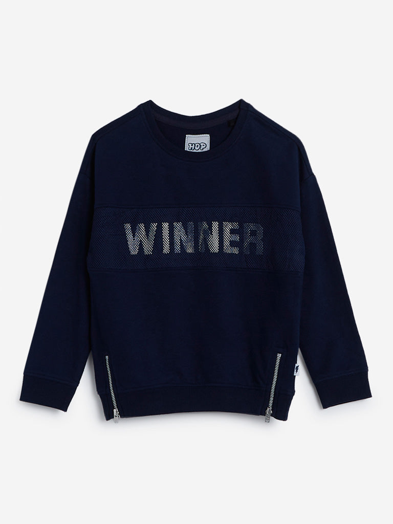 HOP Kids Navy Text Print Sweatshirt