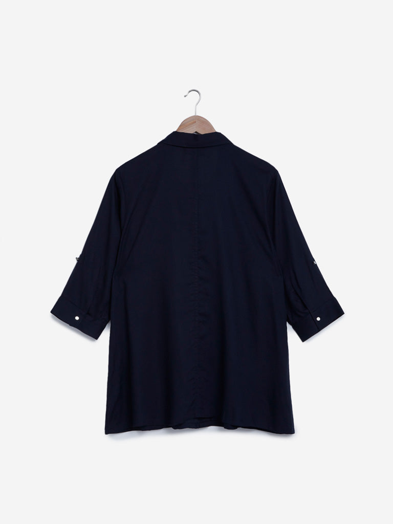 Gia Curves Navy Casual Shirt
