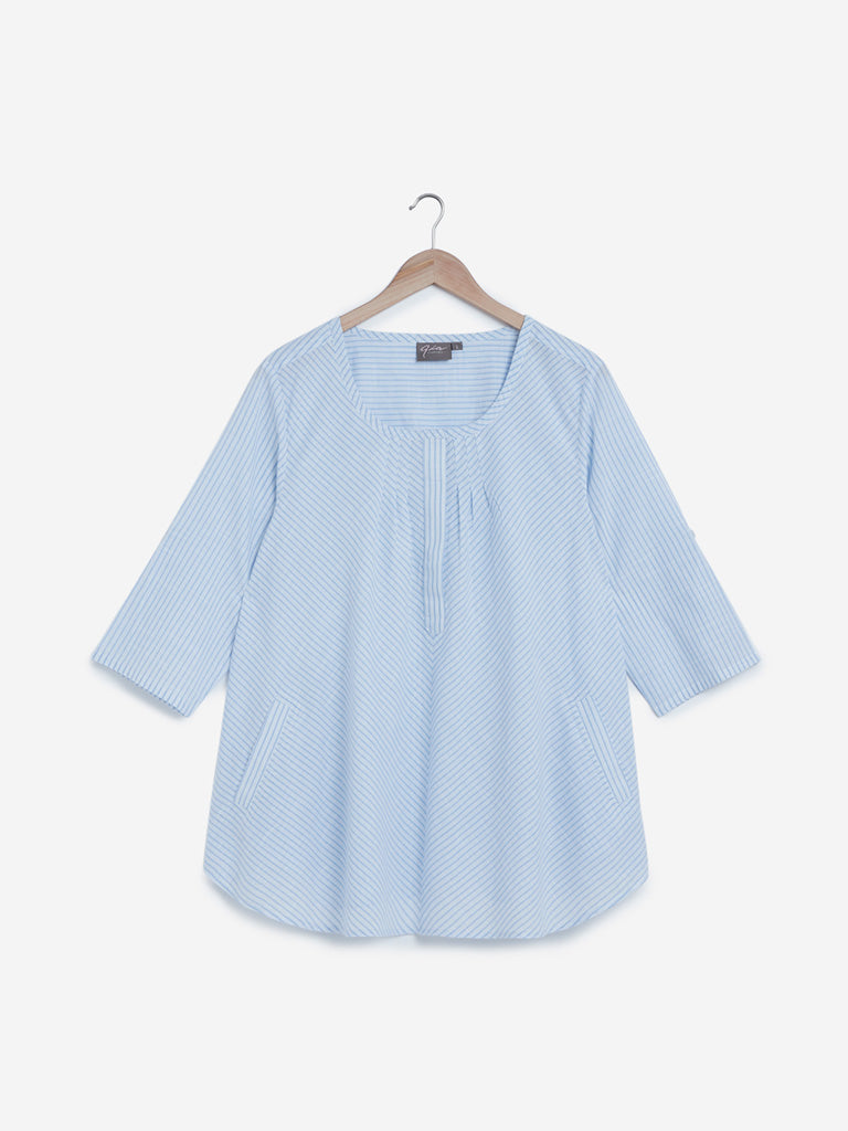 Gia Curves Light Blue Striped Top