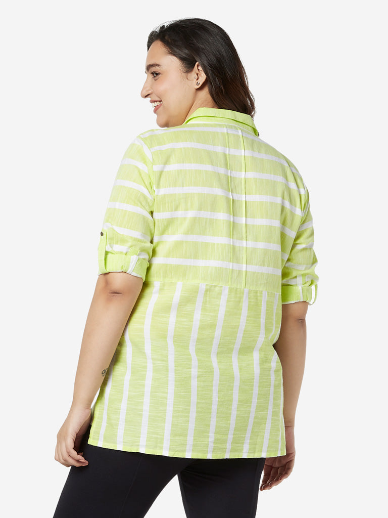 Gia Curves Lime Striped High-Low Top