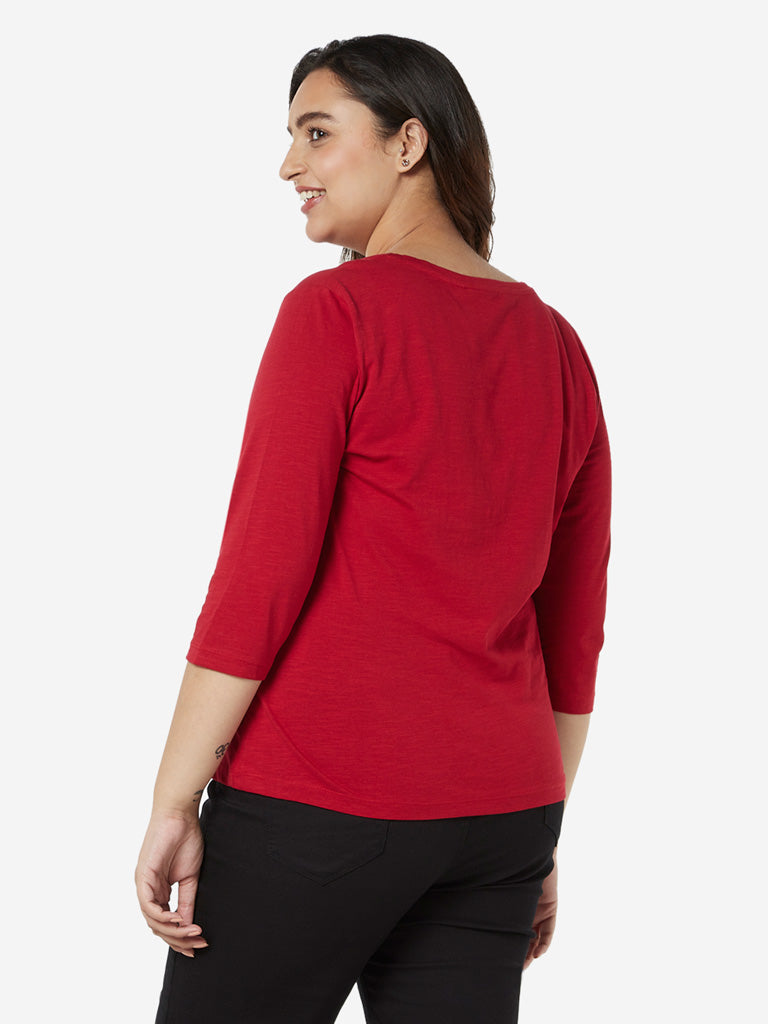 Gia Curves Red Floral Design Fiora Top
