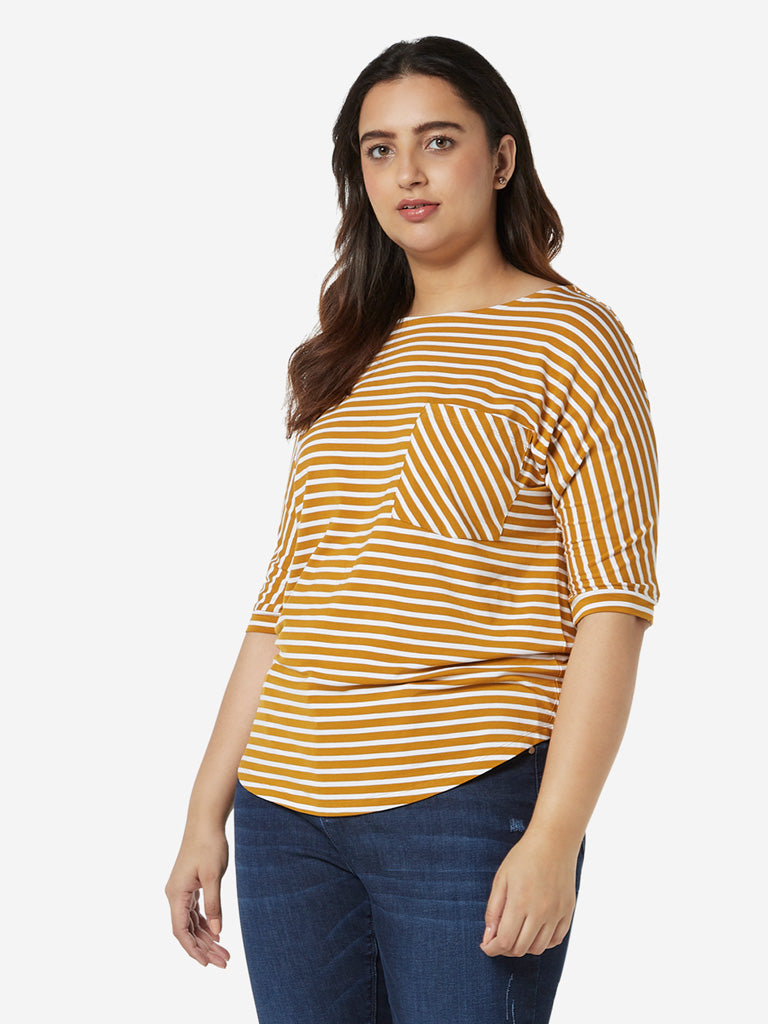 Gia Curves Westside Ochre Striped Top