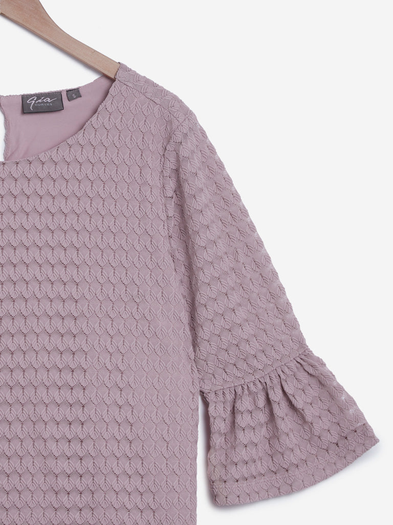 Gia Curves Lilac Crochet Detailed Dorothy Top