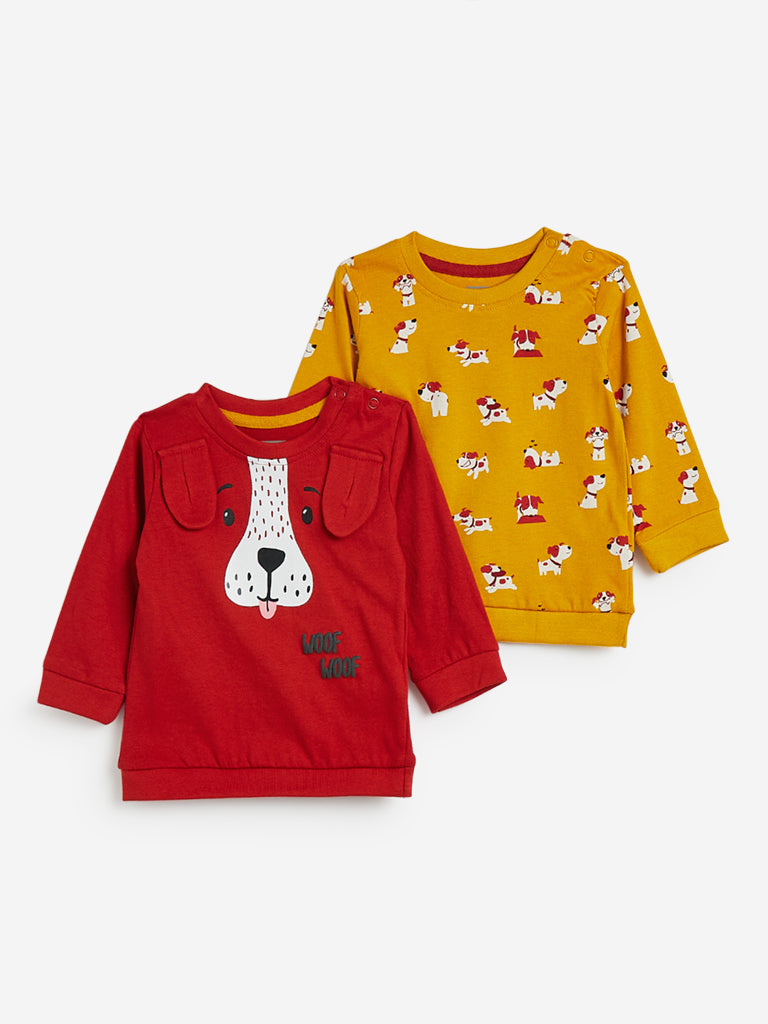Baby HOP Mustard Printed Sweatshirts Set of Two