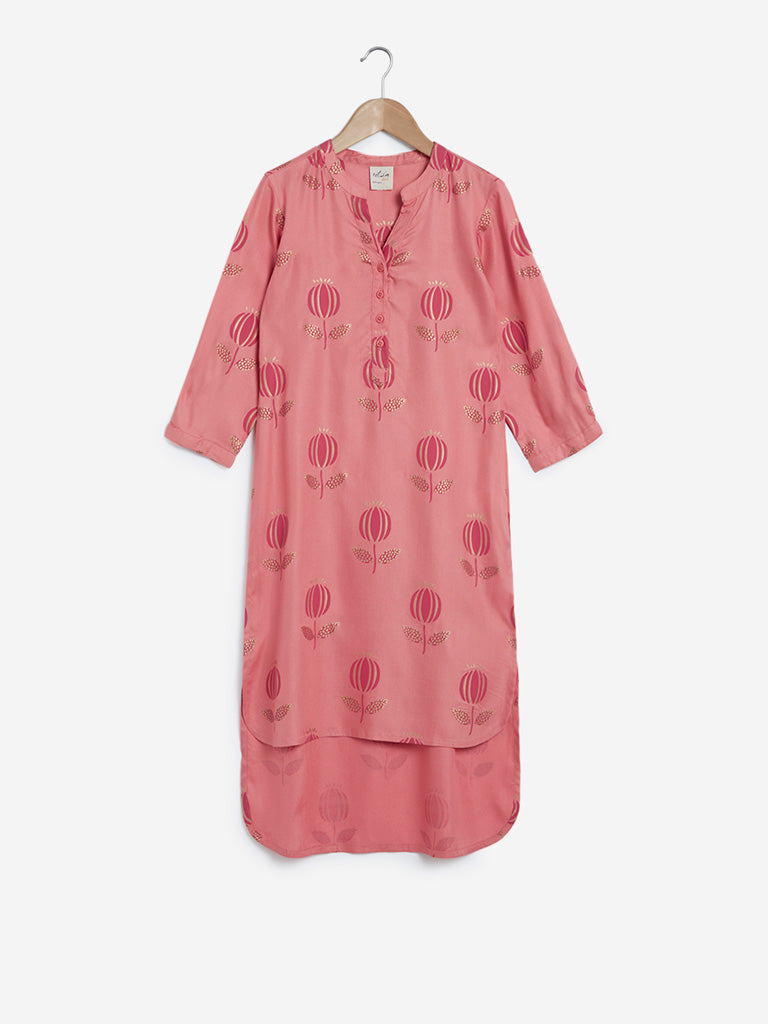 Utsa Kids Pink High-Low Floral Kurta