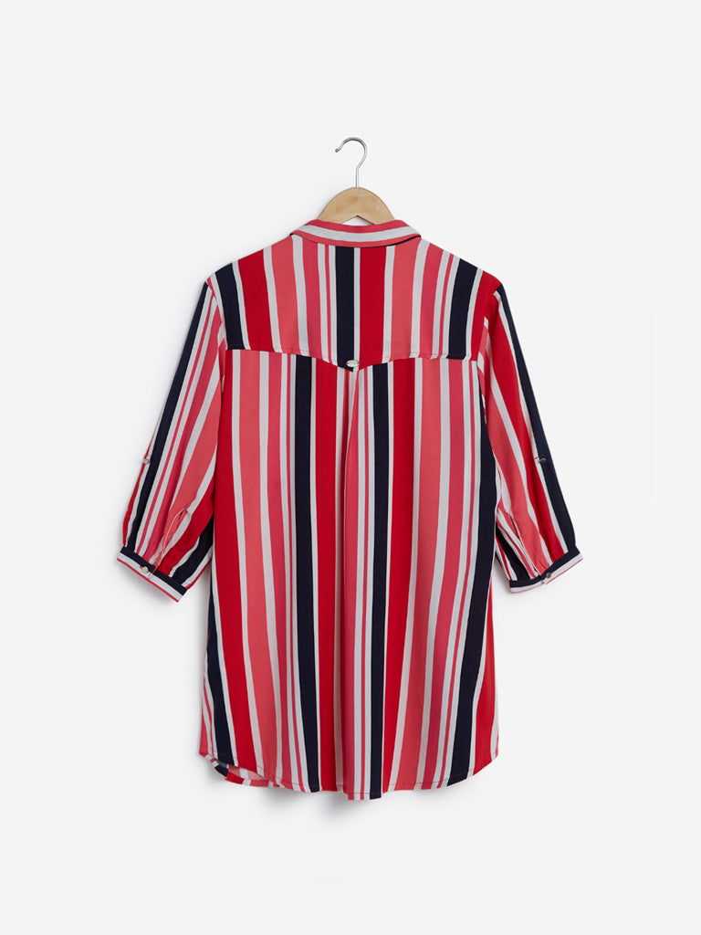 Gia Curve Multicolour Striped Top