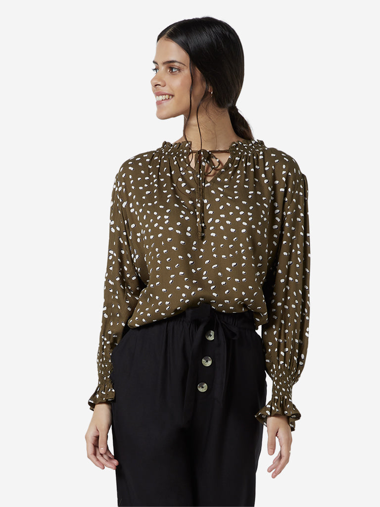 LOV Khaki Animal Pattern Peasant Top