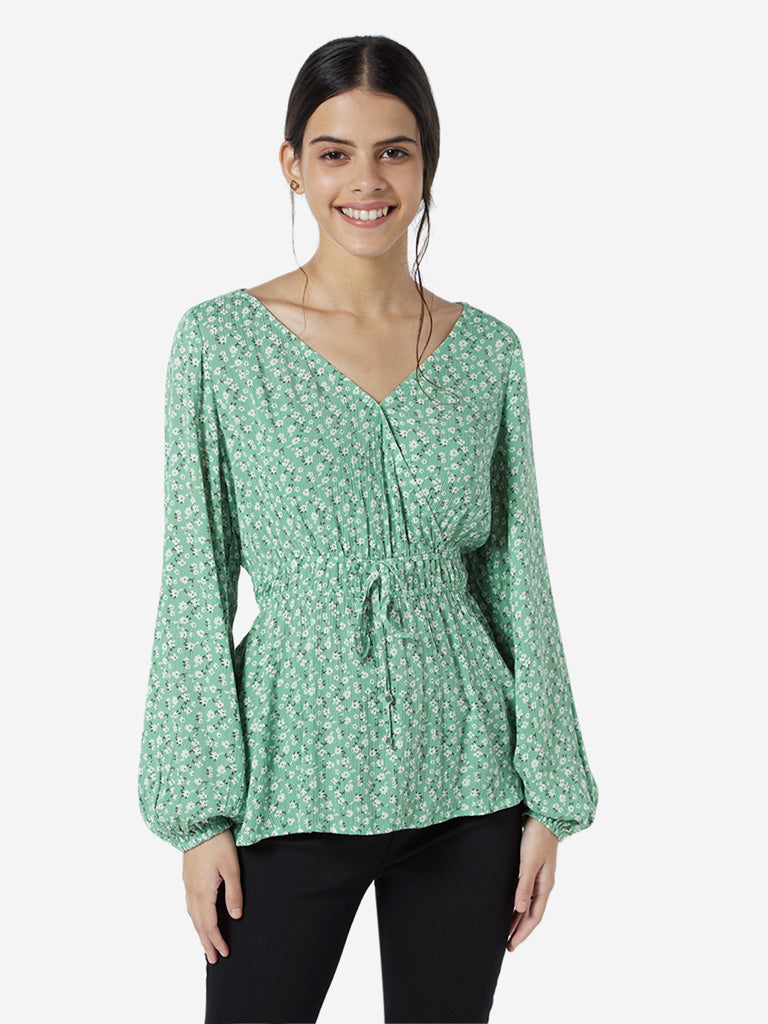 LOV Green Floral Patterned Fit-And-Flare Top
