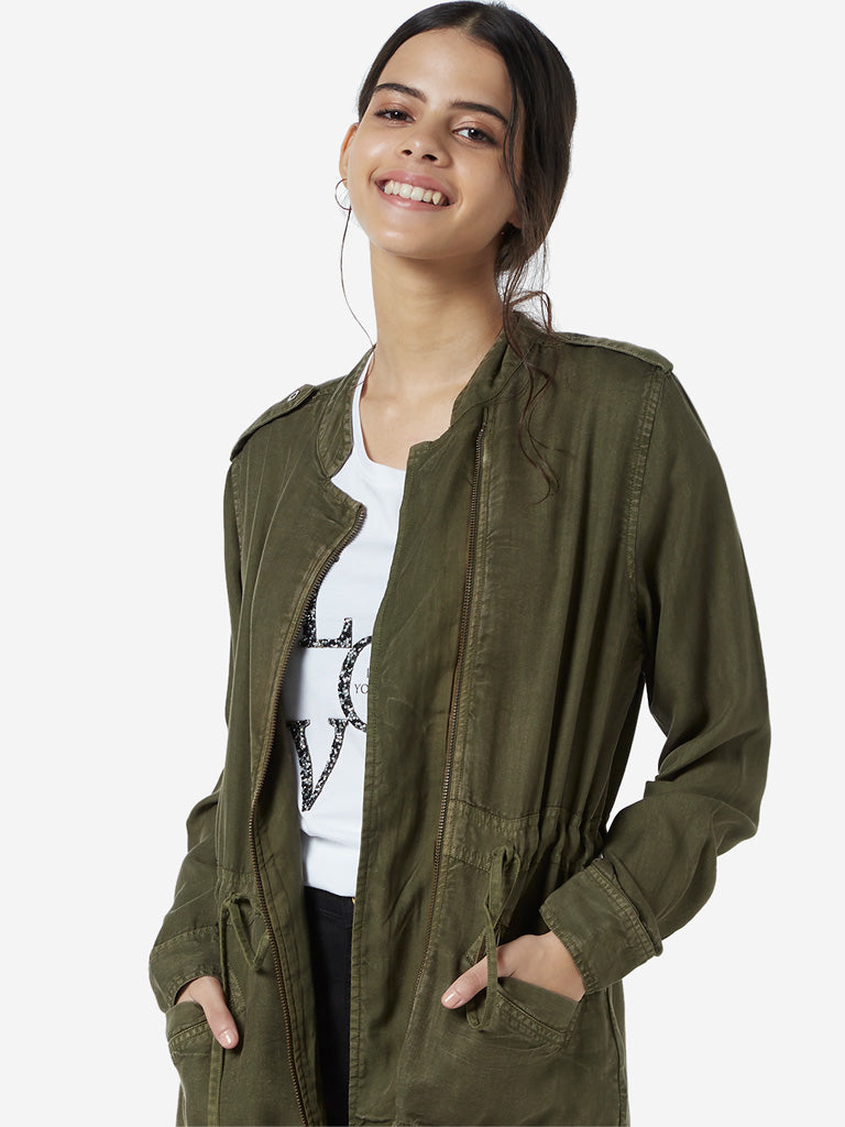 LOV Khaki Drawstring Design Jacket