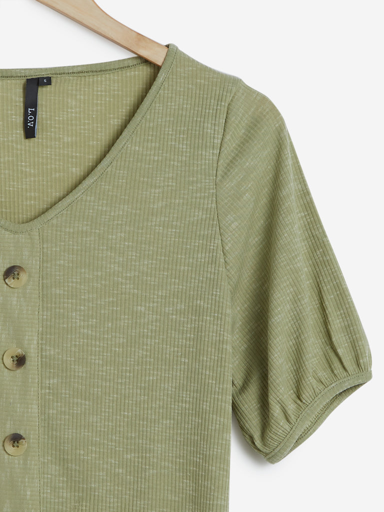 LOV Sage Green Melange Top