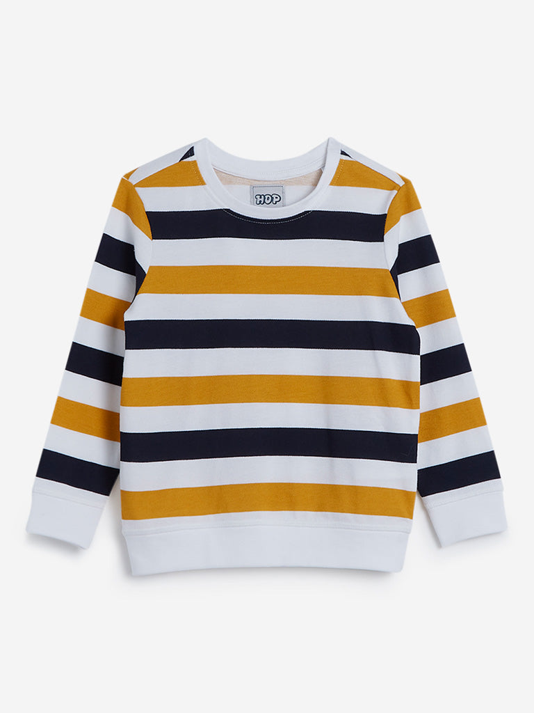 HOP Kids White Striped Cotton Sweatshirt