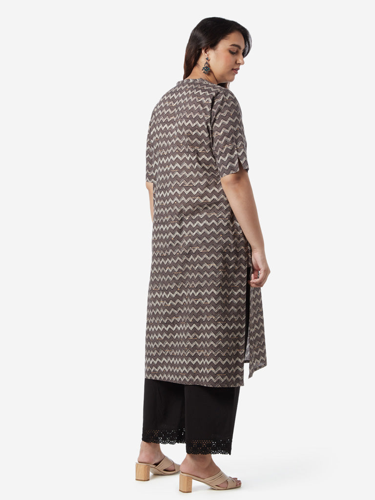 Diza Curves Grey Chevron Print Straight Kurta