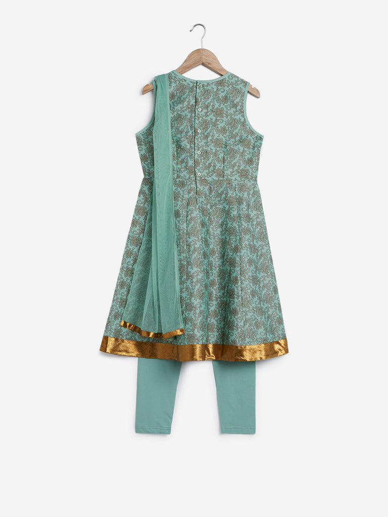 Utsa Kids Sea Green Kurta, Dupatta And Pants Set