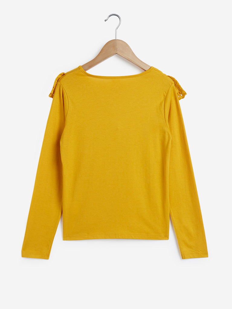 Y&F Kids Mustard Cut-Out Detailed Top