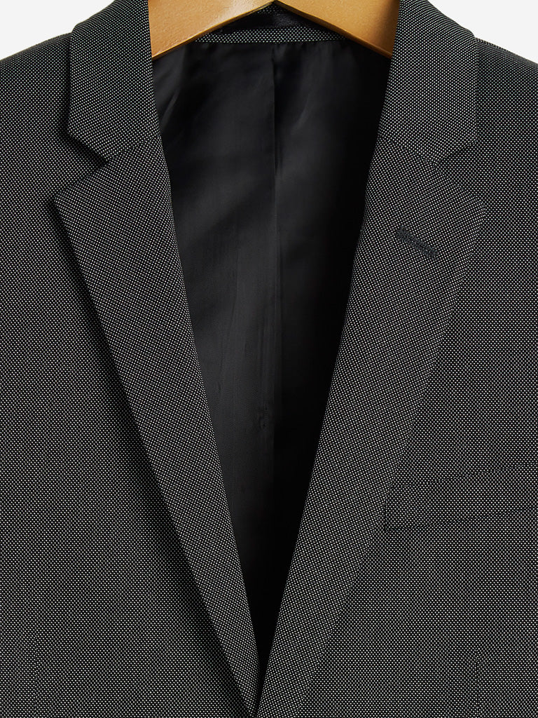 WES Formals Black Slim Fit Blazer
