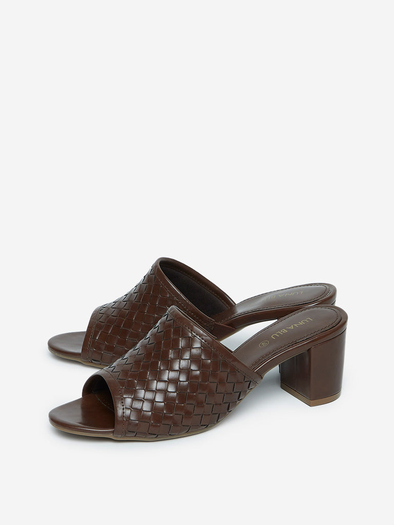 LUNA BLU Brown Weave Pattern Block-Heel Sandals