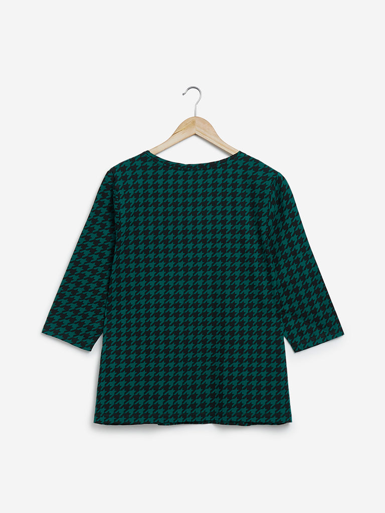 Gia Curves Dark Green Houndstooth Print Top