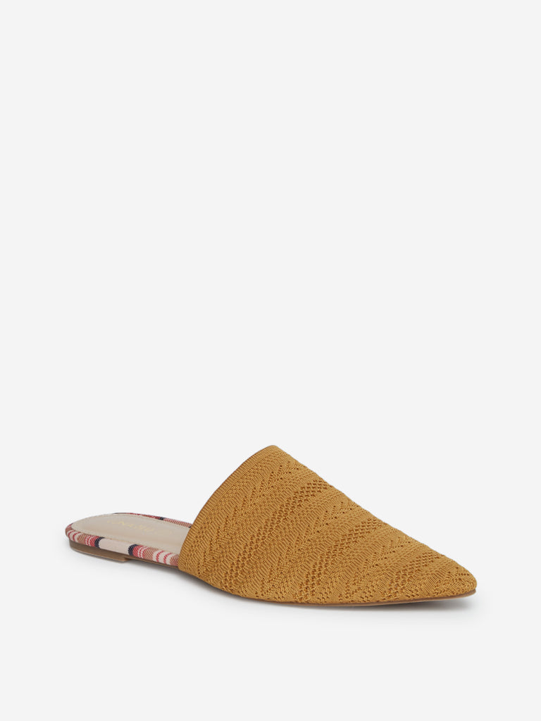 LUNA BLU Tan Knitted Mules