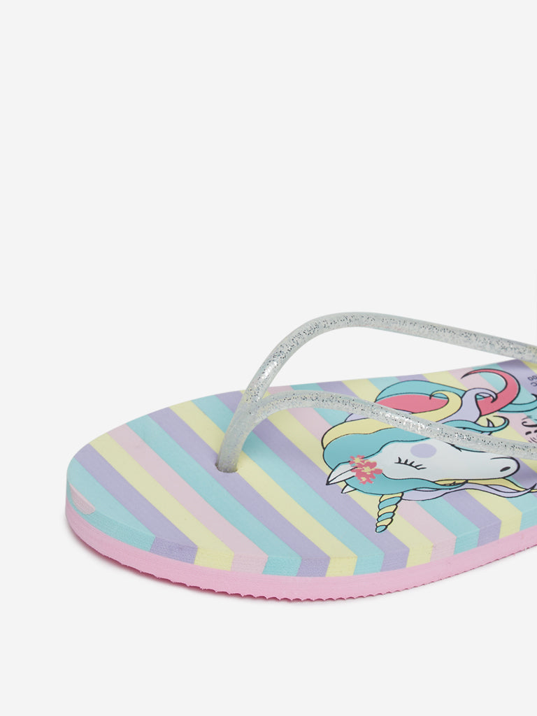 LUNA BLU Multicolour Unicorn Design Flip-Flops