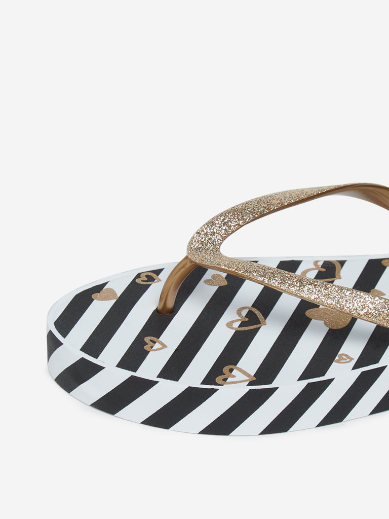LUNA BLU Black Striped Flip-Flops
