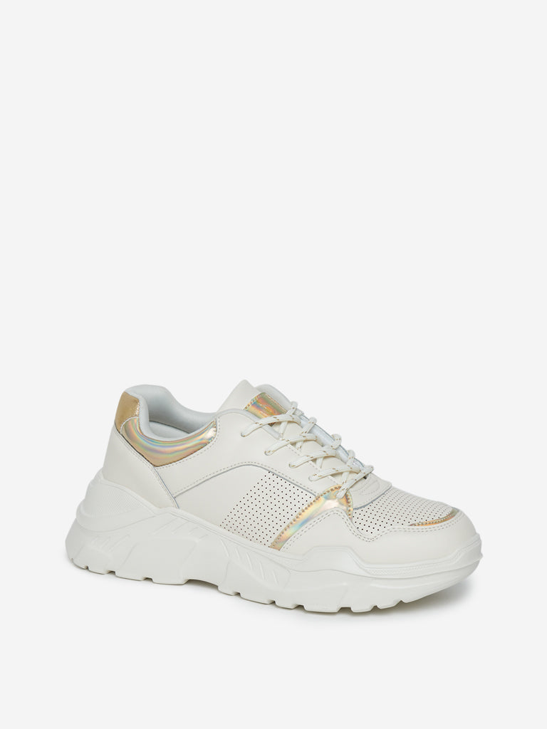 LUNA BLU Off White Perforated Chunky Sneakers