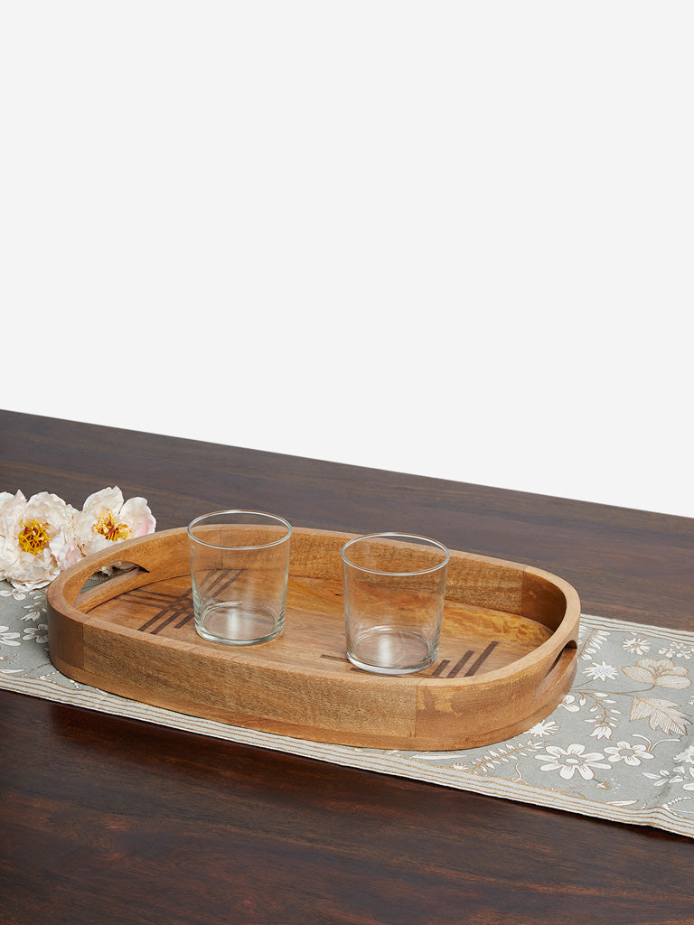 Westside Home Brown Etched Design Wooden Tray