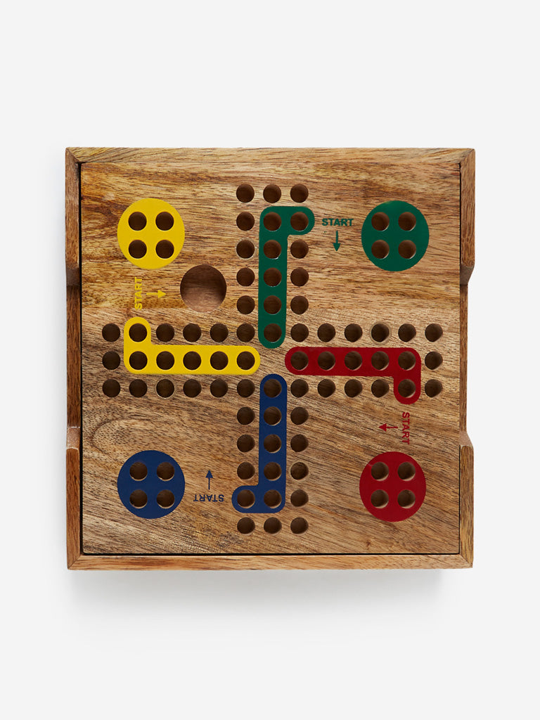 Westside Home Brown Wooden Ludo Set
