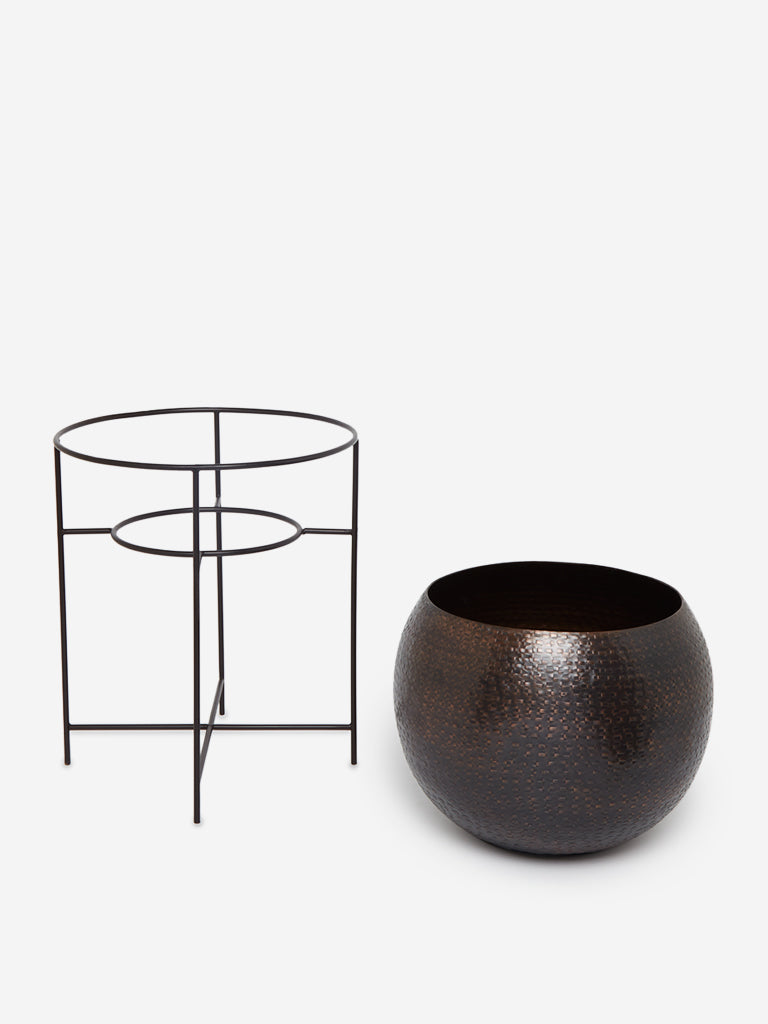 Westside Home Dark Brown Large Round Planter With Stand