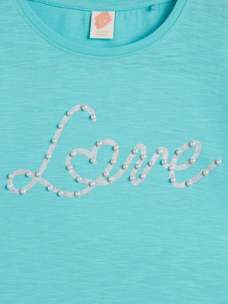 Y&F Kids Turquoise Text Pattern Top