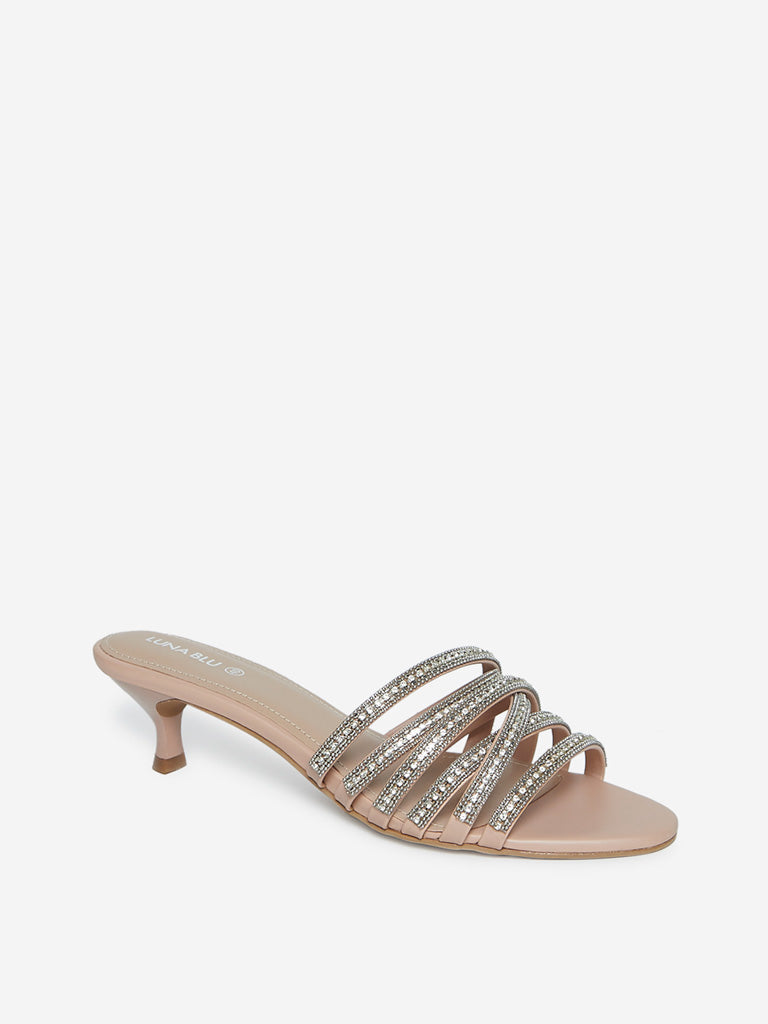 LUNA BLU Light Pink Kitten-Heel Sandals