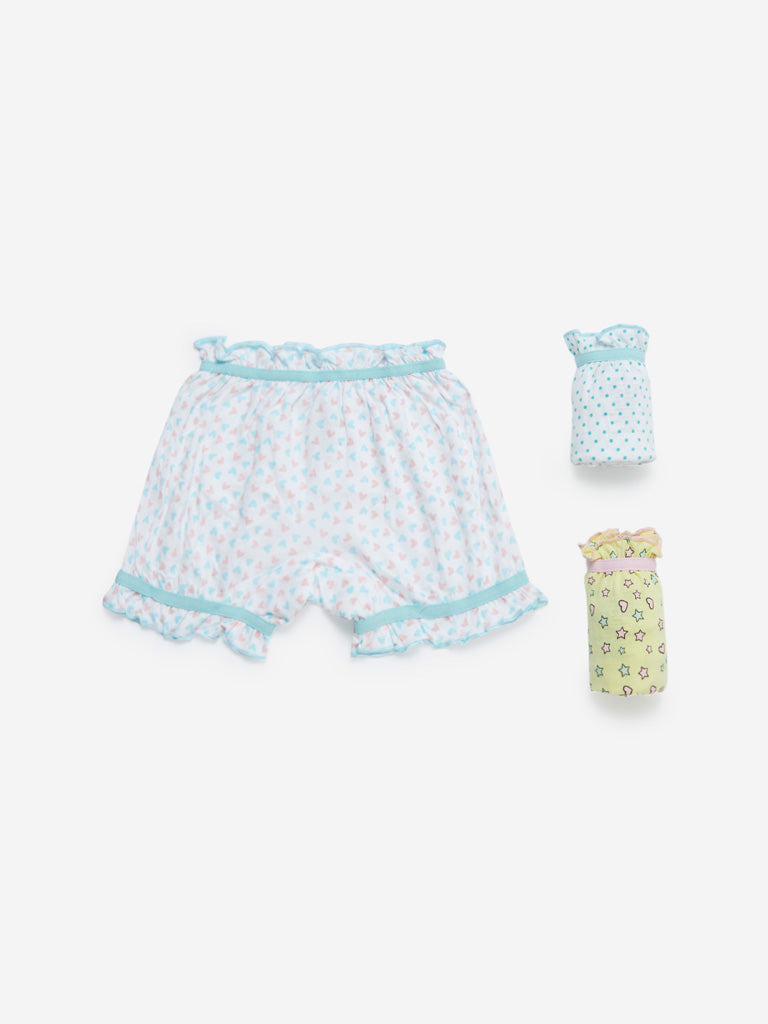 HOP Kids White Printed Bloomers Pack of Three