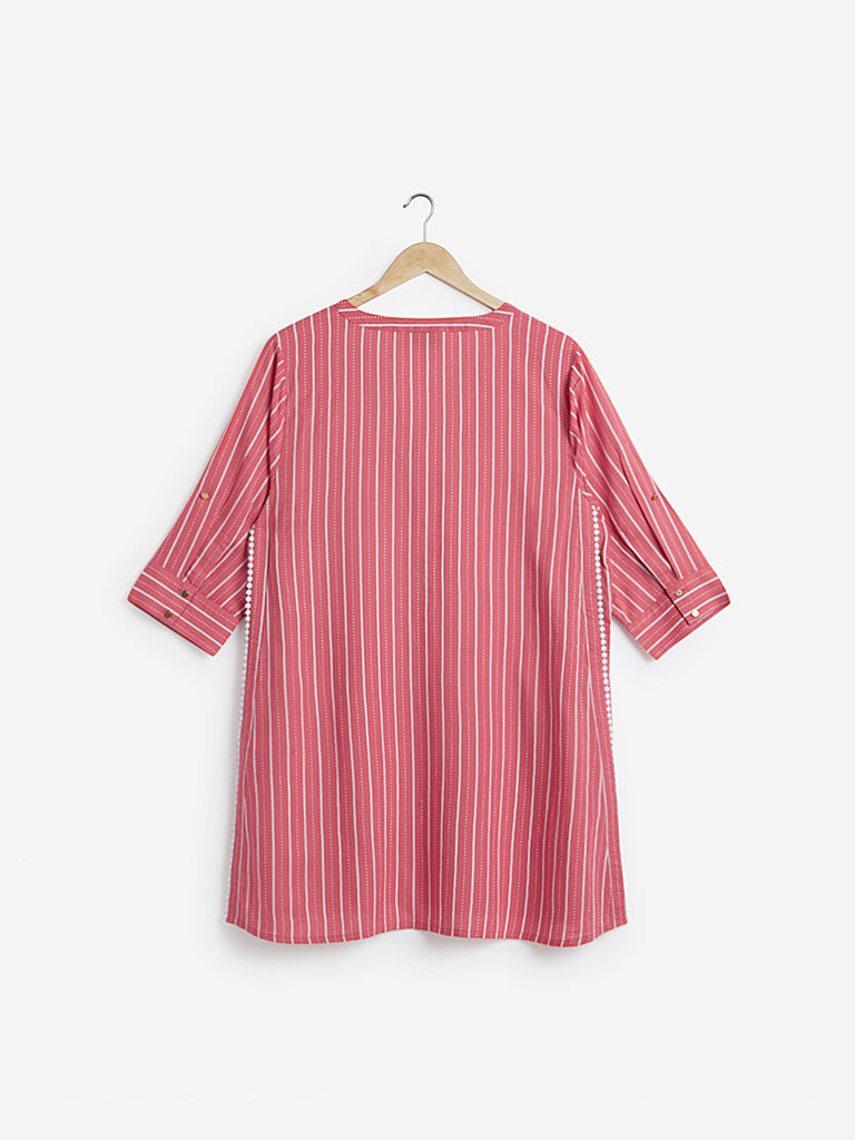 Gia Curves Coral Striped Kennedy Tunic