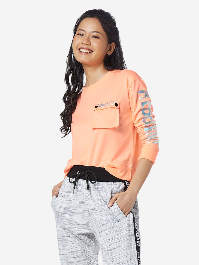 Studiofit Neon Orange Printed Crop T-Shirt