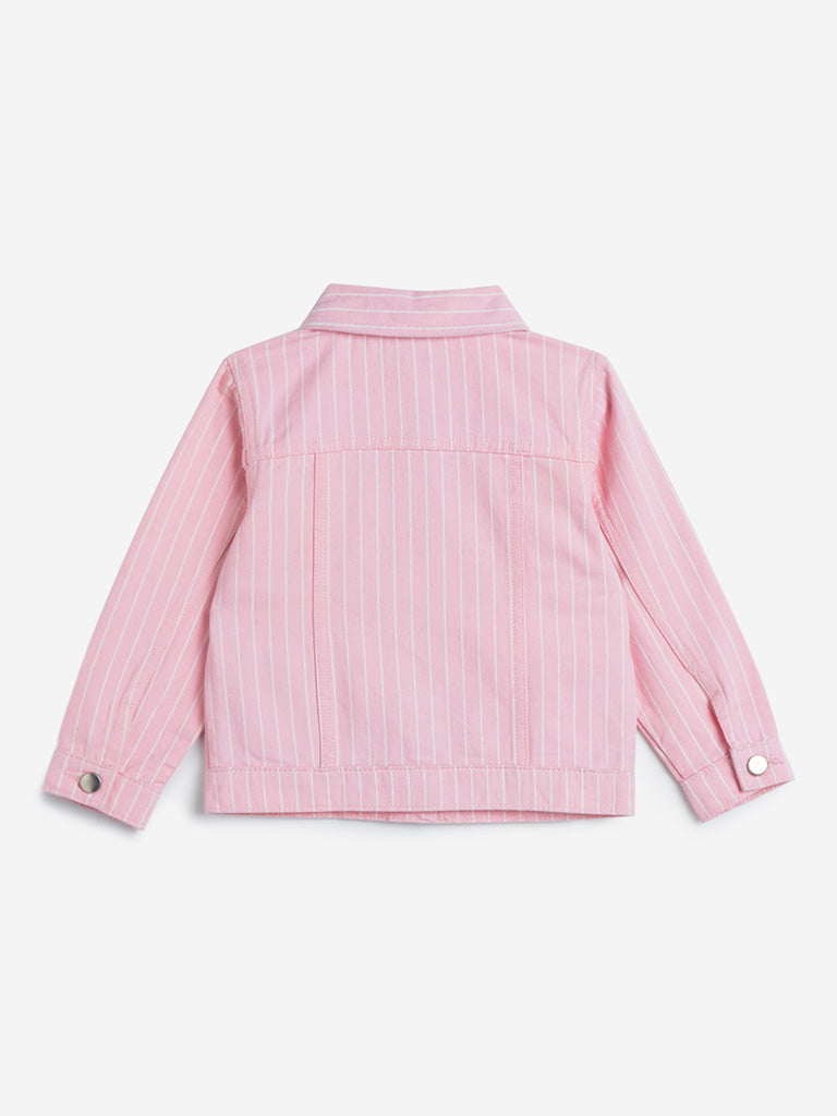 HOP Kids Pink Striped Denim Jacket
