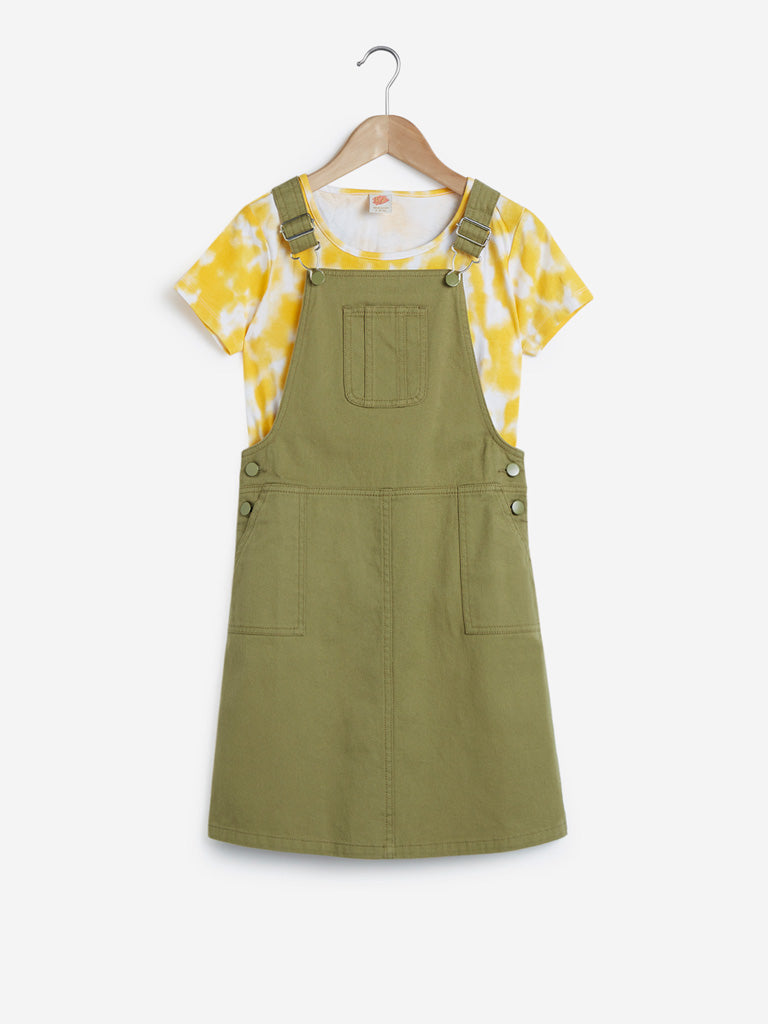 Y&F Kids Olive Pinafore And T-Shirt Set