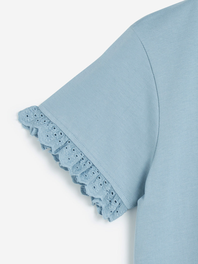 Bombay Paisley Light Blue Pure Cotton Top