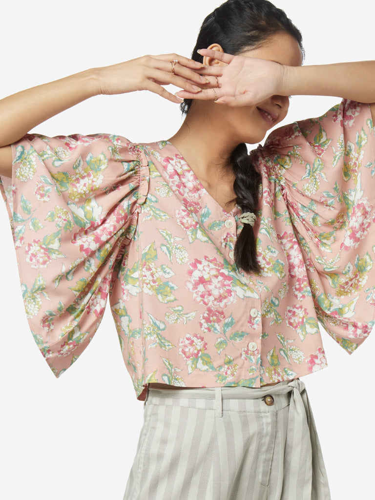 Bombay Paisley Peach Floral Crop-Top