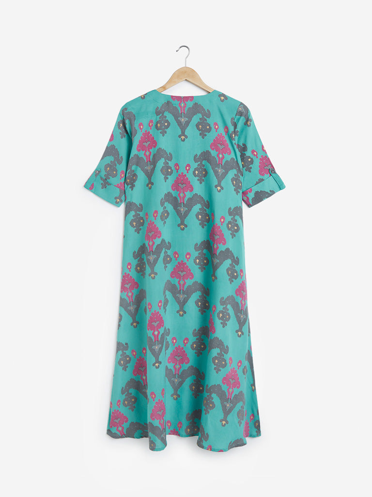 Utsa Sea Green Ikat Print High-Low Kurta