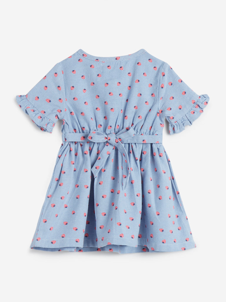 Baby HOP Light Blue Strawberry Print Flara Dress
