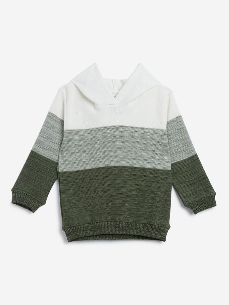 HOP Kids Olive Colour-Block Hooded Sweater
