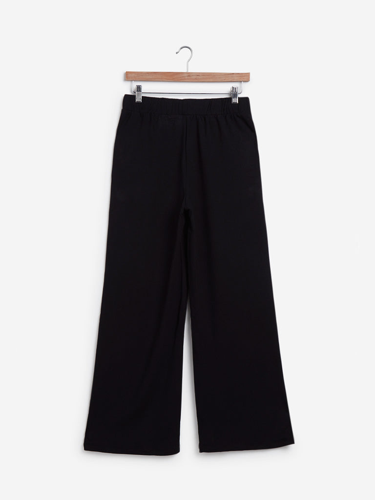 Wunderlove Black Relaxed-Fit Wide-Leg Pants