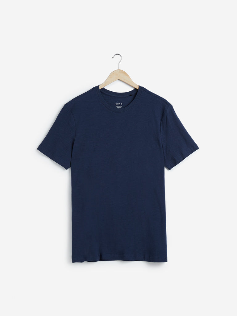 WES Casuals Dark Blue Slim Fit Cotton T-Shirt