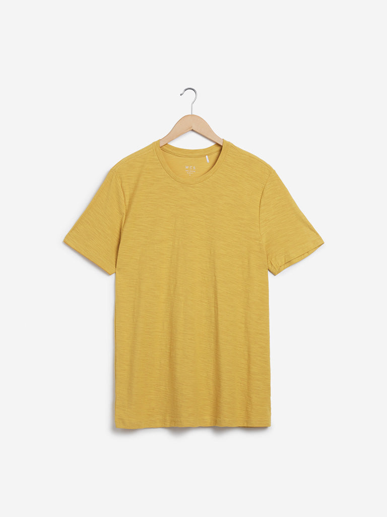 WES Casuals Mustard Slim-Fit T-Shirt