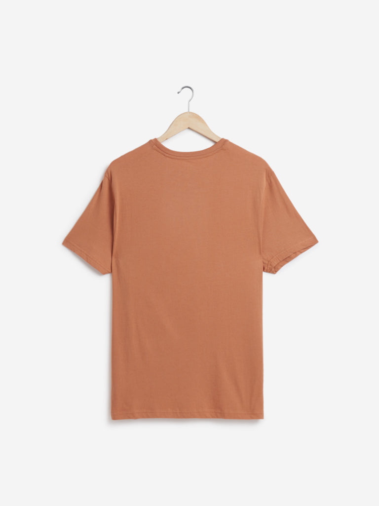 WES Casuals Rust Slim-Fit T-Shirt