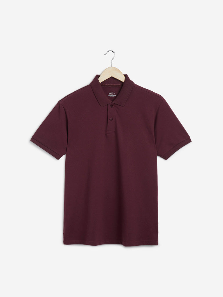 WES Casuals Wine Slim Fit Polo T-Shirt