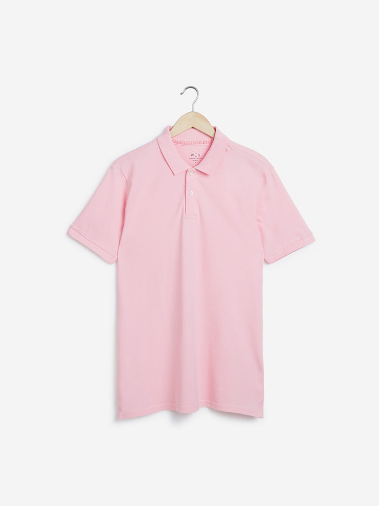 WES Casuals Light Pink Slim-Fit Polo T-Shirt