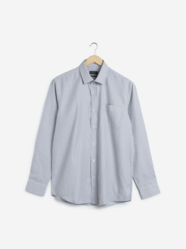 WES Formals Grey Checkered Relaxed Fit Shirt